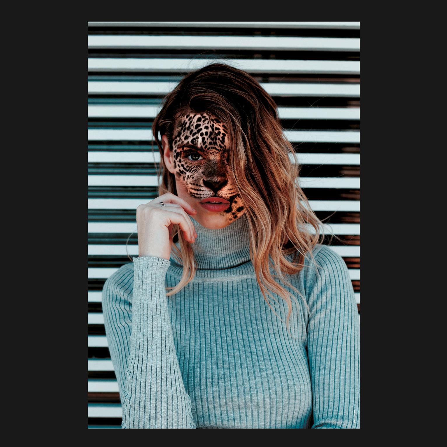 Tiger Woman Colorful   Walldsigns